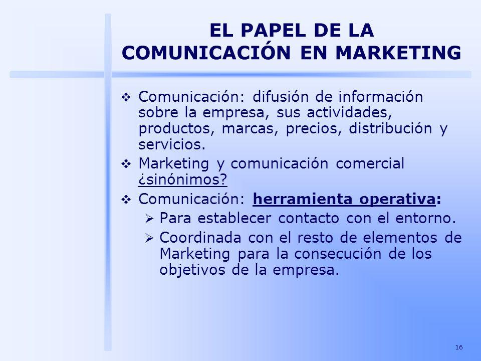 16 EL PAPEL DE LA COMUNICACIÓN EN MARKETING Comunicación: difusión de información sobre la empresa, sus actividades, productos, marcas, precios, distr