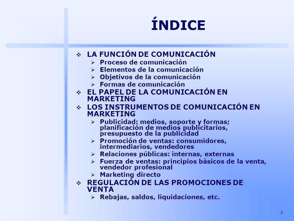 13 LA FUNCIÓN DE COMUNICACIÓN Objetivos de la comunicación Recordar: La comunicación debe asegurar la compra repetitiva de la marca (fidelidad).