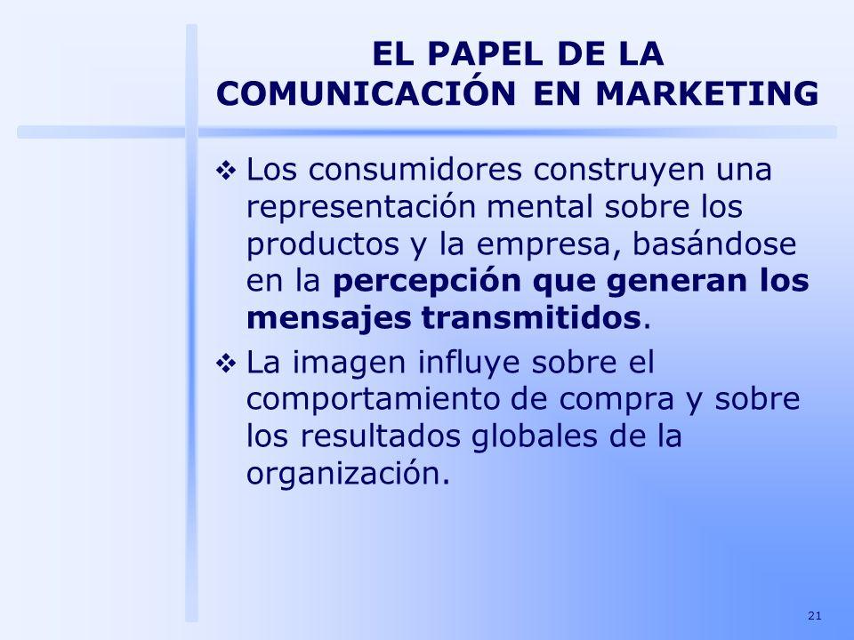 21 EL PAPEL DE LA COMUNICACIÓN EN MARKETING Los consumidores construyen una representación mental sobre los productos y la empresa, basándose en la pe