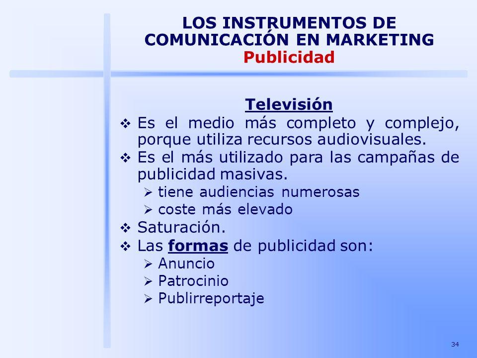 34 LOS INSTRUMENTOS DE COMUNICACIÓN EN MARKETING Publicidad Televisión Es el medio más completo y complejo, porque utiliza recursos audiovisuales. Es