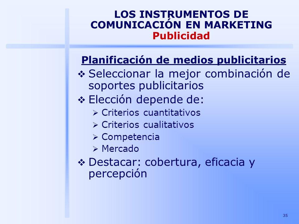 35 LOS INSTRUMENTOS DE COMUNICACIÓN EN MARKETING Publicidad Planificación de medios publicitarios Seleccionar la mejor combinación de soportes publici