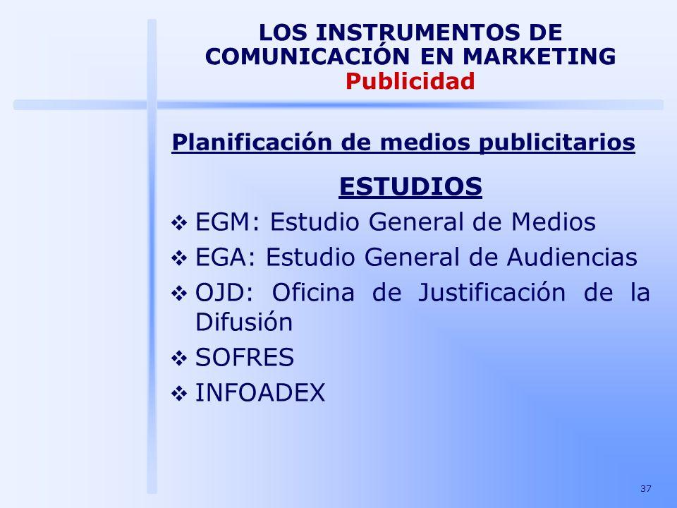 37 LOS INSTRUMENTOS DE COMUNICACIÓN EN MARKETING Publicidad ESTUDIOS EGM: Estudio General de Medios EGA: Estudio General de Audiencias OJD: Oficina de