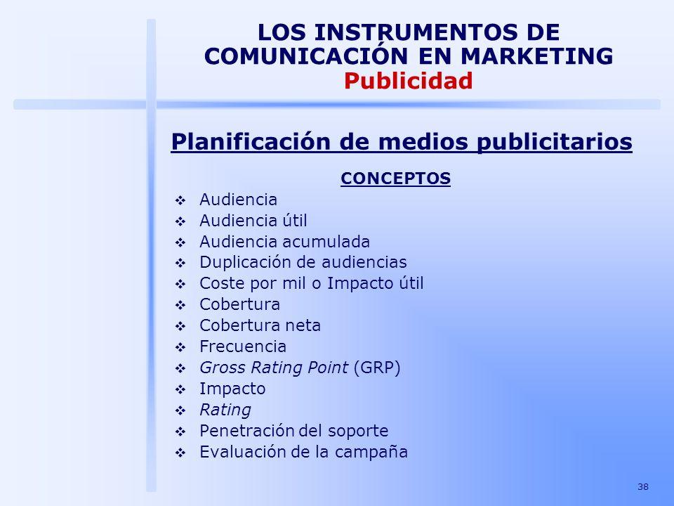 38 LOS INSTRUMENTOS DE COMUNICACIÓN EN MARKETING Publicidad CONCEPTOS Audiencia Audiencia útil Audiencia acumulada Duplicación de audiencias Coste por