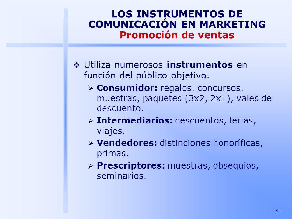 44 LOS INSTRUMENTOS DE COMUNICACIÓN EN MARKETING Promoción de ventas Utiliza numerosos instrumentos en función del público objetivo. Consumidor: regal