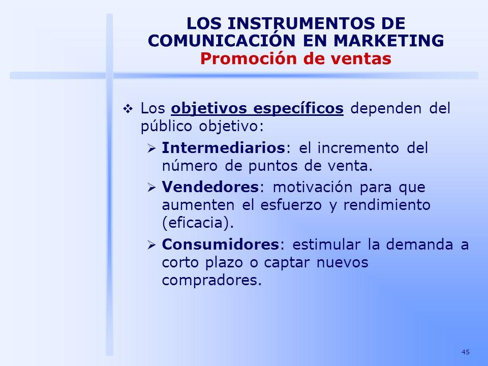 45 LOS INSTRUMENTOS DE COMUNICACIÓN EN MARKETING Promoción de ventas Los objetivos específicos dependen del público objetivo: Intermediarios: el incre