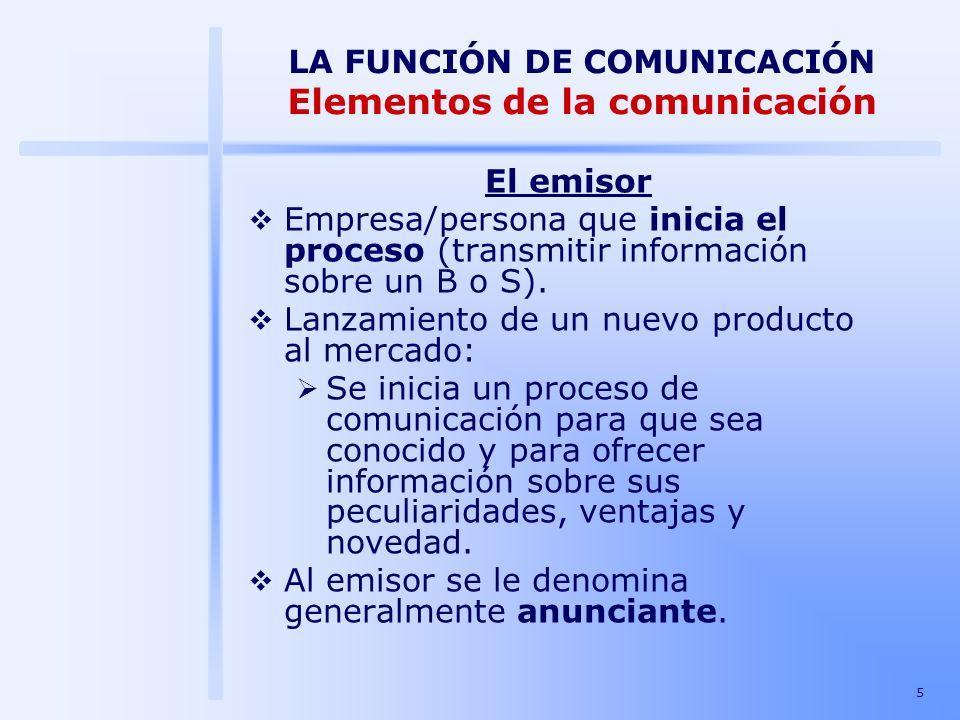 5 LA FUNCIÓN DE COMUNICACIÓN Elementos de la comunicación El emisor Empresa/persona que inicia el proceso (transmitir información sobre un B o S). Lan