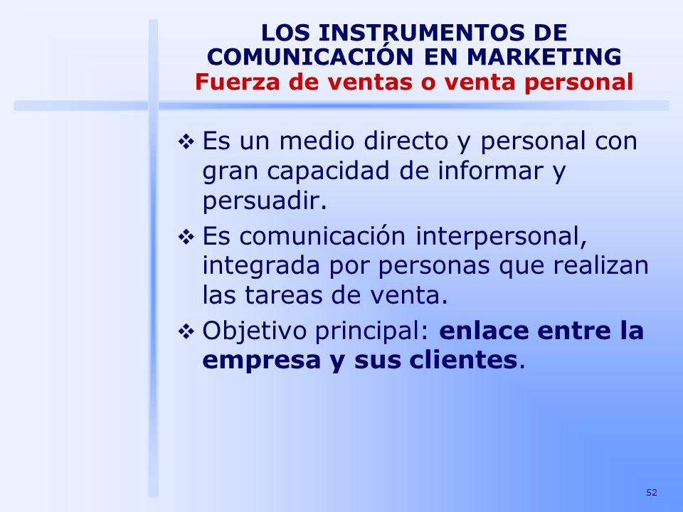 52 LOS INSTRUMENTOS DE COMUNICACIÓN EN MARKETING Fuerza de ventas o venta personal Es un medio directo y personal con gran capacidad de informar y per