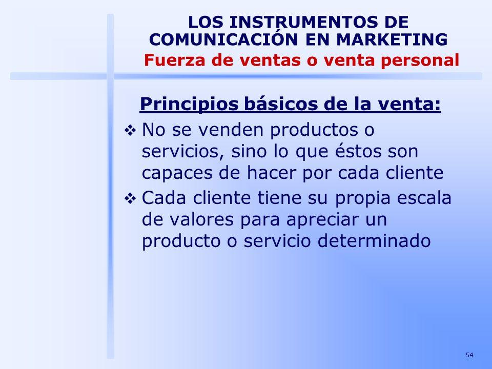 54 LOS INSTRUMENTOS DE COMUNICACIÓN EN MARKETING Fuerza de ventas o venta personal Principios básicos de la venta: No se venden productos o servicios,