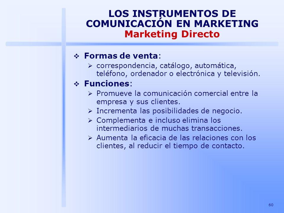 60 LOS INSTRUMENTOS DE COMUNICACIÓN EN MARKETING Marketing Directo Formas de venta: correspondencia, catálogo, automática, teléfono, ordenador o elect