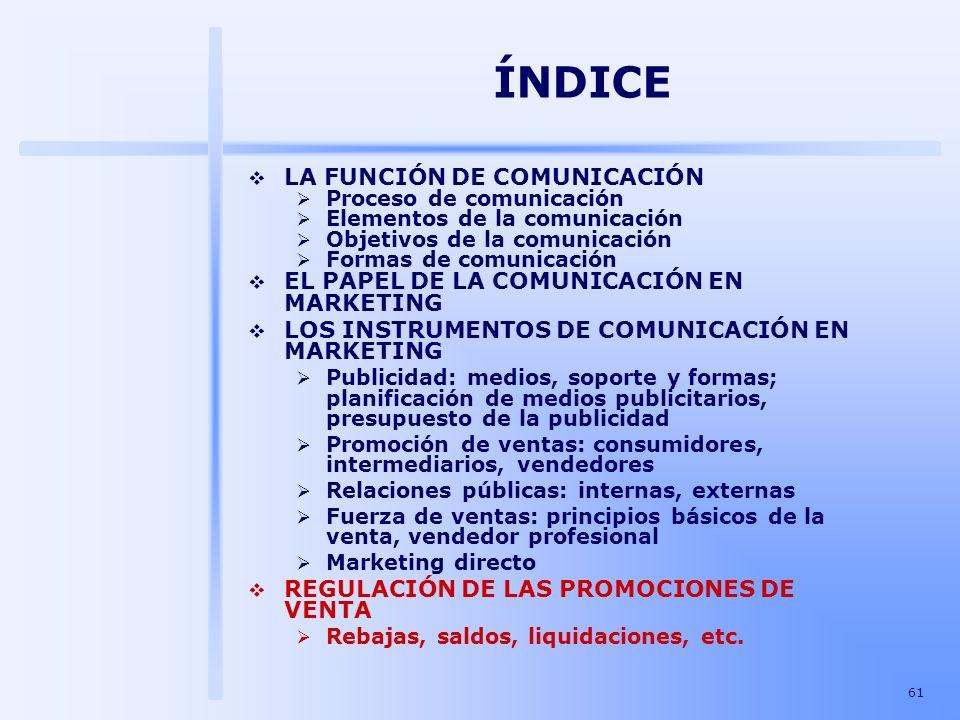 61 ÍNDICE LA FUNCIÓN DE COMUNICACIÓN Proceso de comunicación Elementos de la comunicación Objetivos de la comunicación Formas de comunicación EL PAPEL
