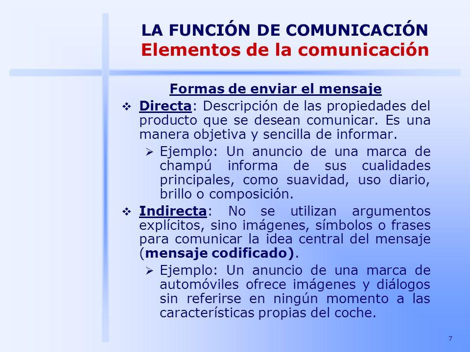 7 LA FUNCIÓN DE COMUNICACIÓN Elementos de la comunicación Formas de enviar el mensaje Directa: Descripción de las propiedades del producto que se dese