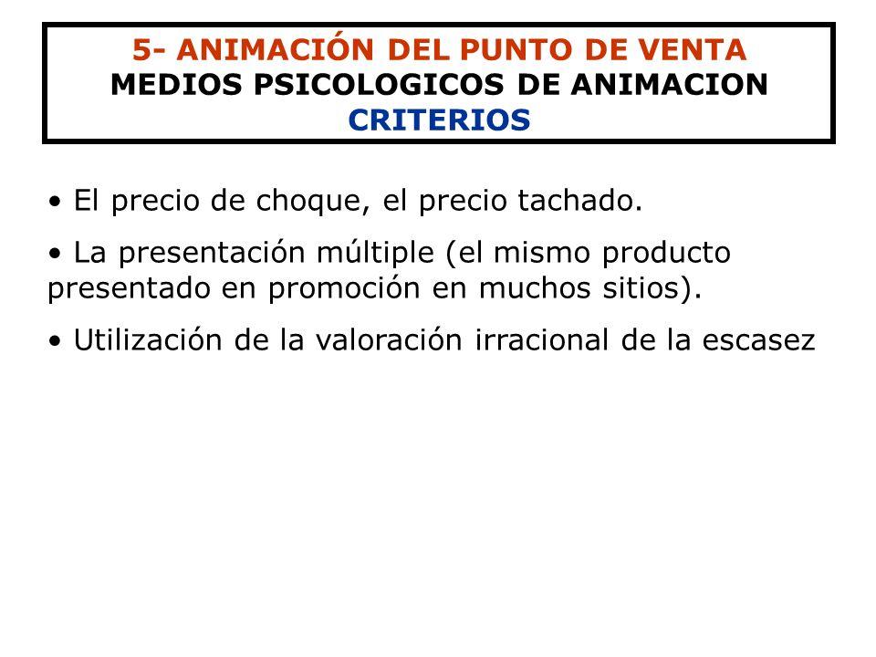 5- ANIMACIÓN DEL PUNTO DE VENTA MEDIOS PSICOLOGICOS DE ANIMACION FORMAS PRECIO DE OFERTA Reducción significativa de precio de un producto. Se puede pr