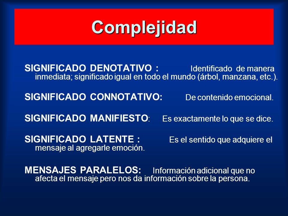 Complejidad SIGNIFICADO DENOTATIVO : Identificado de manera inmediata; significado igual en todo el mundo (árbol, manzana, etc.). SIGNIFICADO CONNOTAT