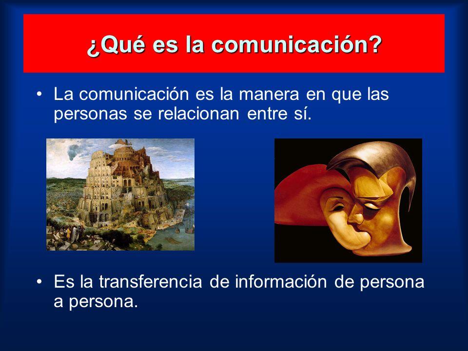¿Qué es la comunicación? La comunicación es la manera en que las personas se relacionan entre sí. Es la transferencia de información de persona a pers