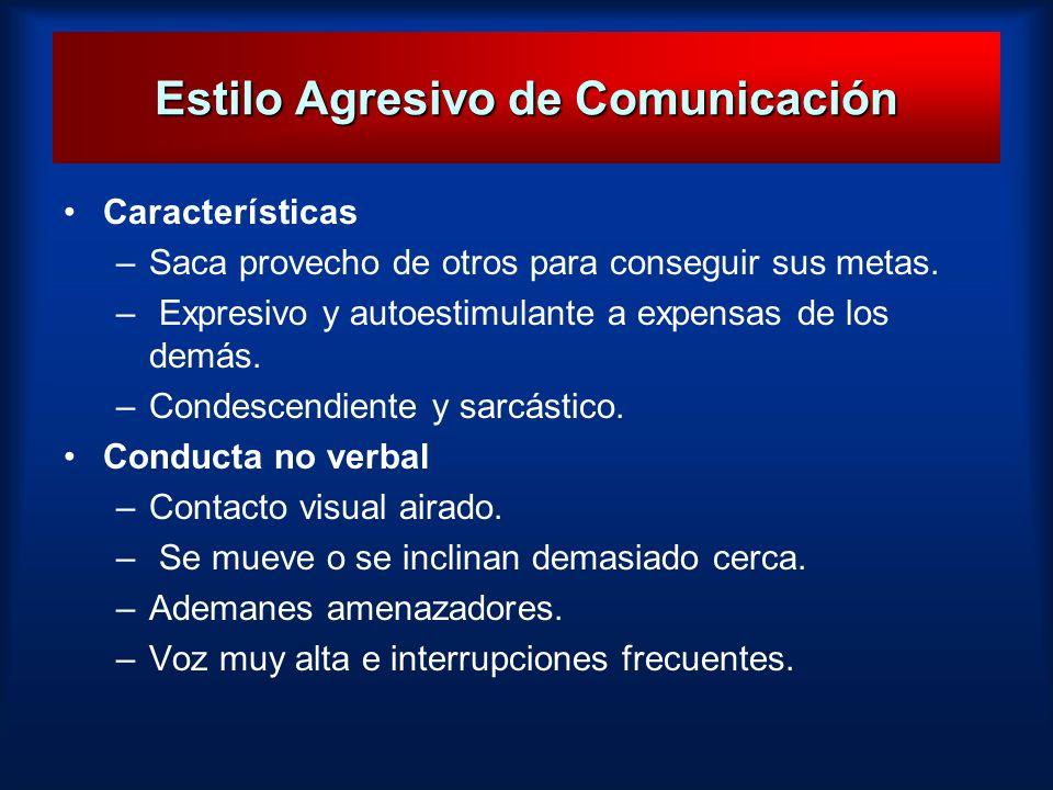 Estilo Agresivo de Comunicación Características –Saca provecho de otros para conseguir sus metas. – Expresivo y autoestimulante a expensas de los demá
