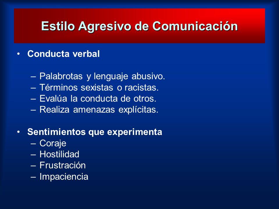 Estilo Agresivo de Comunicación Conducta verbal –Palabrotas y lenguaje abusivo. –Términos sexistas o racistas. –Evalúa la conducta de otros. –Realiza