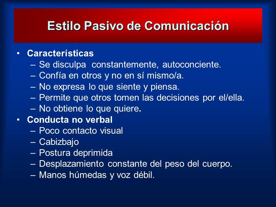 Estilo Pasivo de Comunicación Características –Se disculpa constantemente, autoconciente. –Confía en otros y no en sí mismo/a. –No expresa lo que sien
