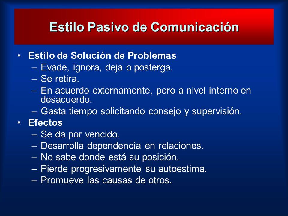 Estilo Pasivo de Comunicación Estilo de Solución de Problemas –Evade, ignora, deja o posterga. –Se retira. –En acuerdo externamente, pero a nivel inte