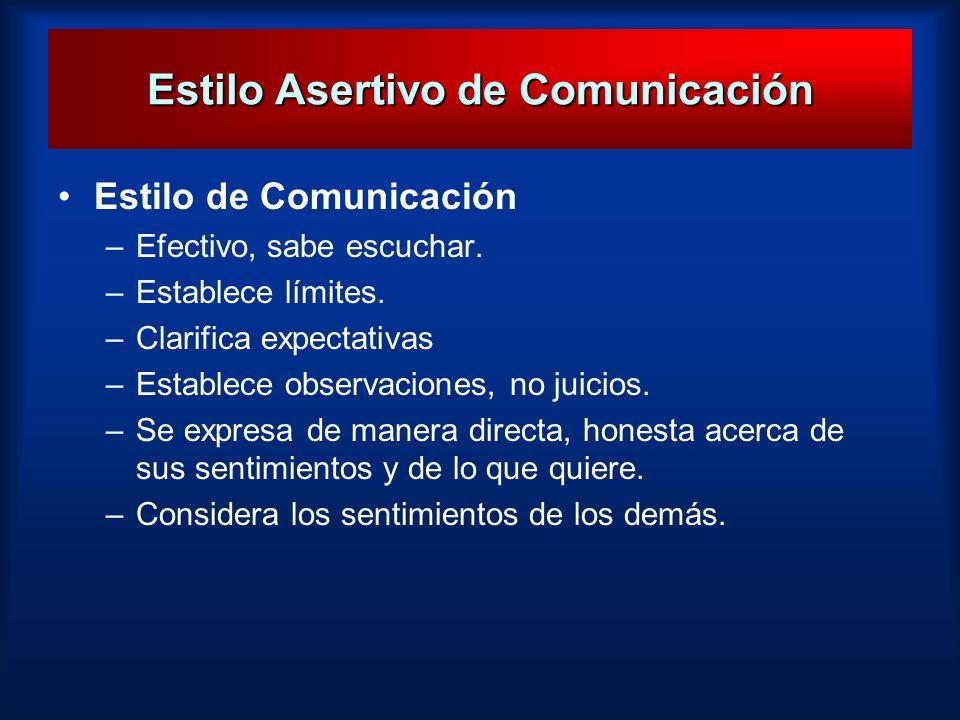 Estilo Asertivo de Comunicación Estilo de Comunicación –Efectivo, sabe escuchar. –Establece límites. –Clarifica expectativas –Establece observaciones,