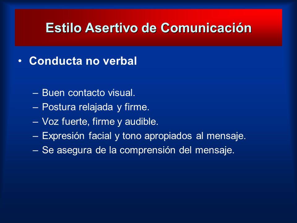 Estilo Asertivo de Comunicación Conducta no verbal –Buen contacto visual. –Postura relajada y firme. –Voz fuerte, firme y audible. –Expresión facial y