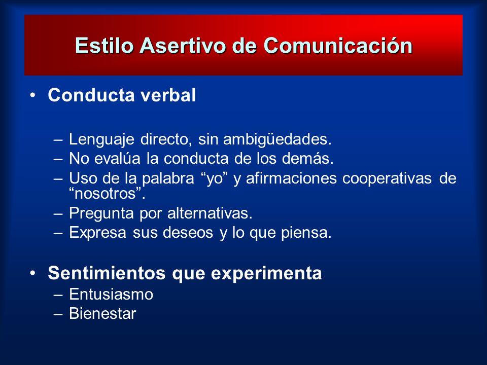 Estilo Asertivo de Comunicación Conducta verbal –Lenguaje directo, sin ambigüedades. –No evalúa la conducta de los demás. –Uso de la palabra yo y afir