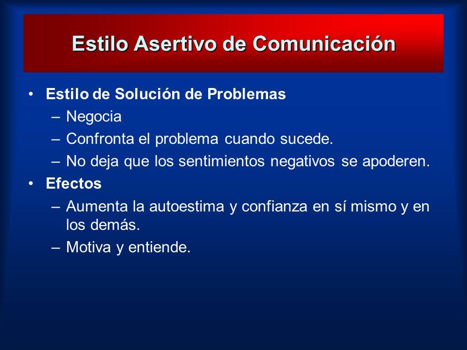 Estilo Asertivo de Comunicación Estilo de Solución de Problemas –Negocia –Confronta el problema cuando sucede. –No deja que los sentimientos negativos
