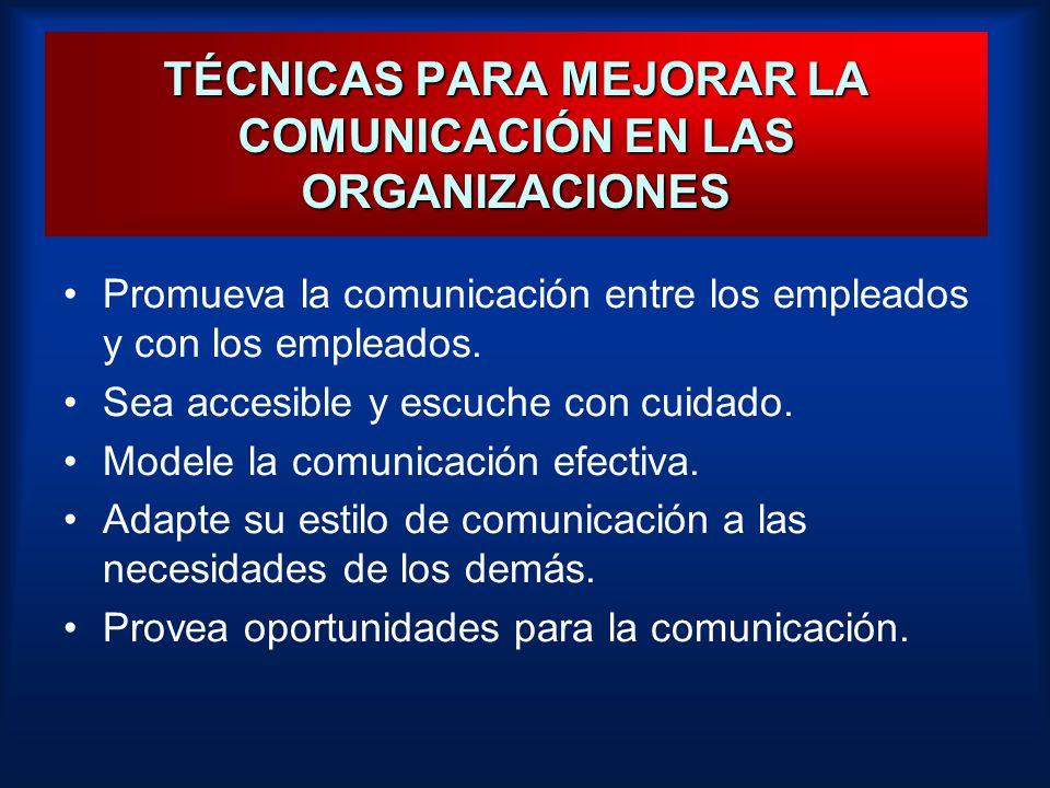 TÉCNICAS PARA MEJORAR LA COMUNICACIÓN EN LAS ORGANIZACIONES Promueva la comunicación entre los empleados y con los empleados. Sea accesible y escuche