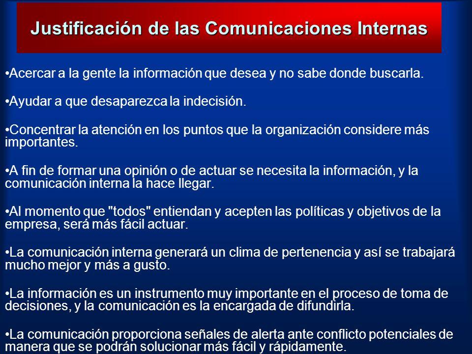 Justificación de las Comunicaciones Internas Acercar a la gente la información que desea y no sabe donde buscarla. Ayudar a que desaparezca la indecis
