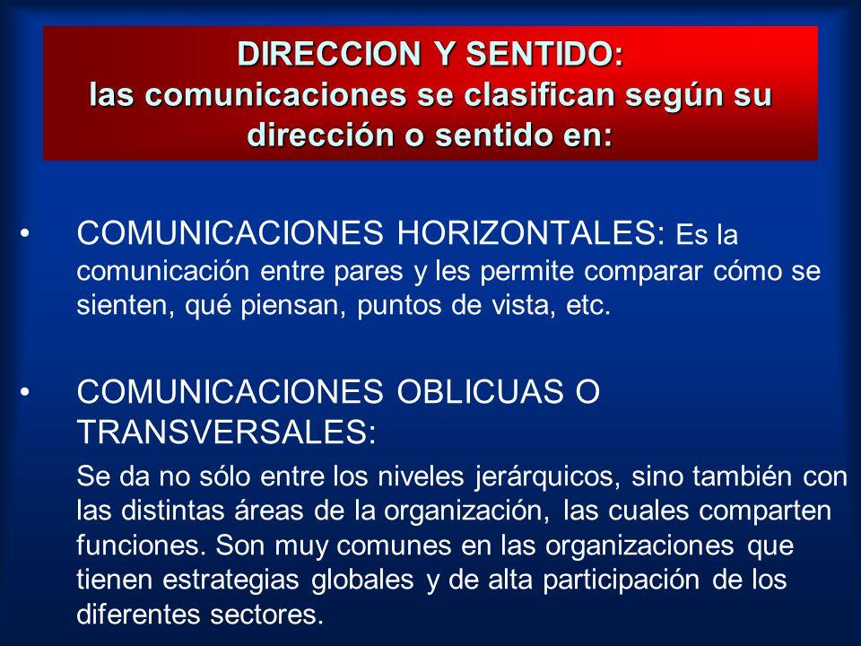 DIRECCION Y SENTIDO: las comunicaciones se clasifican según su dirección o sentido en: COMUNICACIONES HORIZONTALES: Es la comunicación entre pares y l