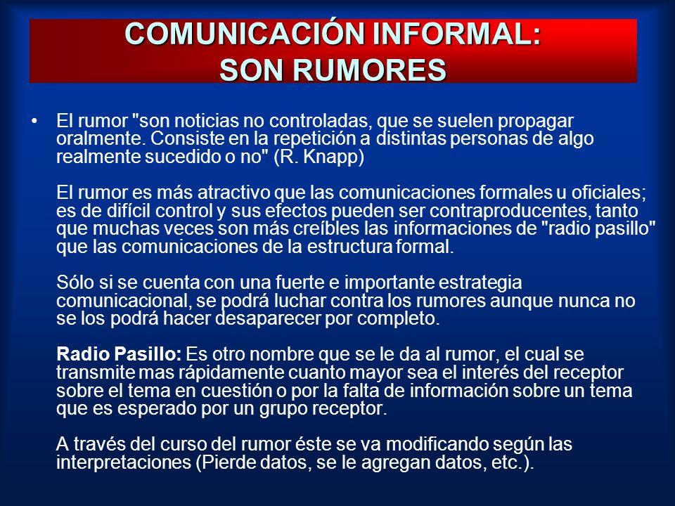 COMUNICACIÓN INFORMAL: SON RUMORES El rumor