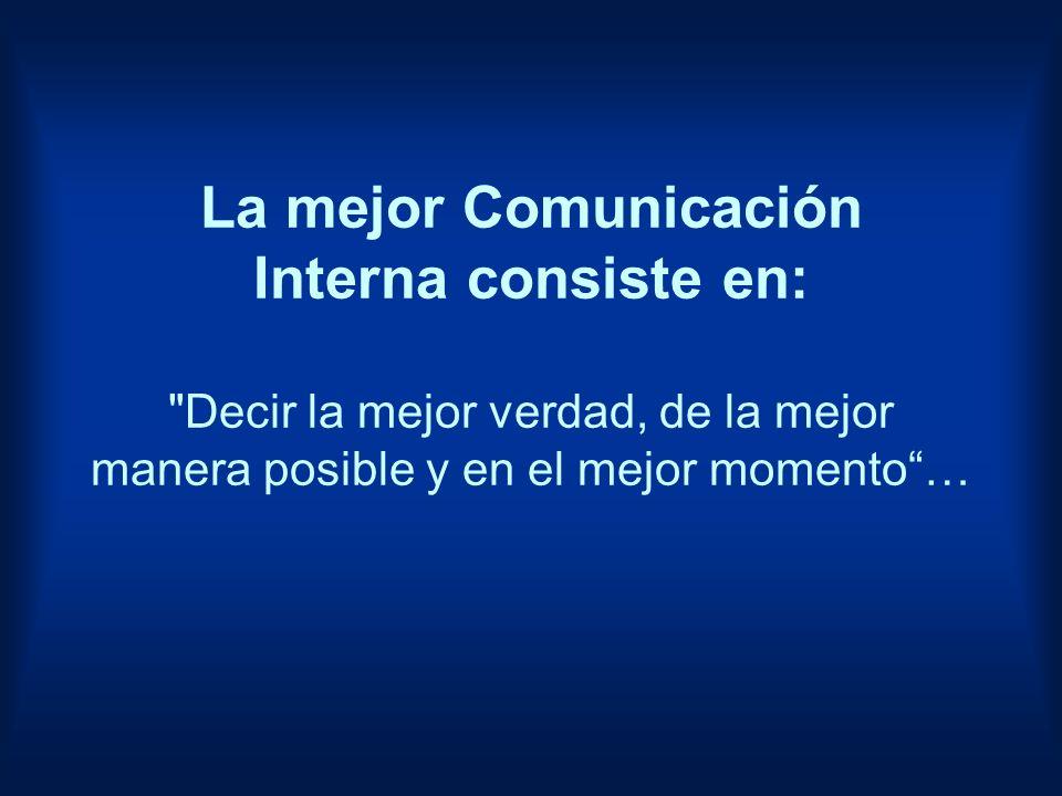 La mejor Comunicación Interna consiste en: