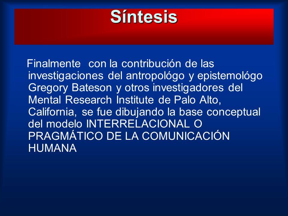 Finalmente con la contribución de las investigaciones del antropológo y epistemológo Gregory Bateson y otros investigadores del Mental Research Instit
