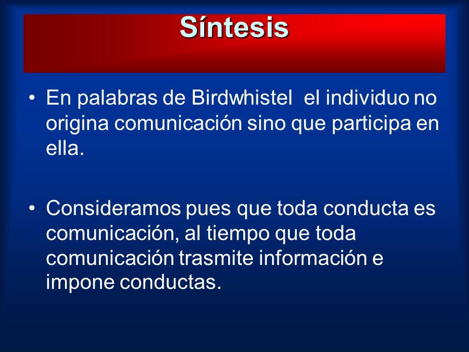 En palabras de Birdwhistel el individuo no origina comunicación sino que participa en ella. Consideramos pues que toda conducta es comunicación, al ti