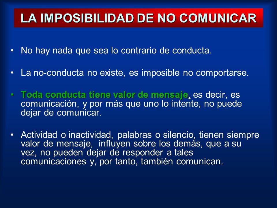 LA IMPOSIBILIDAD DE NO COMUNICAR No hay nada que sea lo contrario de conducta. La no-conducta no existe, es imposible no comportarse. Toda conducta ti