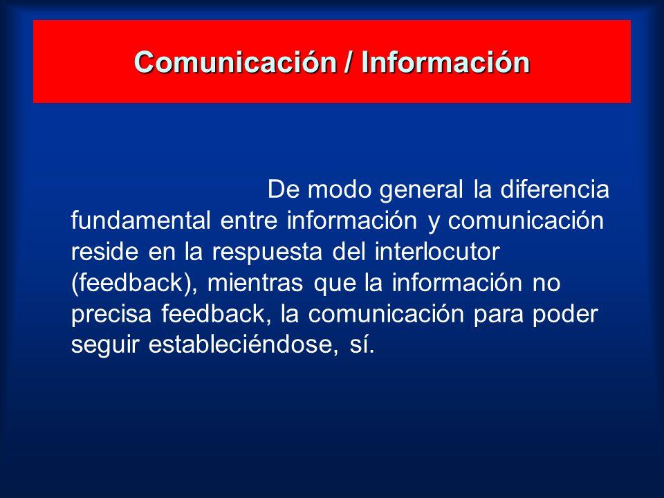 De modo general la diferencia fundamental entre información y comunicación reside en la respuesta del interlocutor (feedback), mientras que la informa