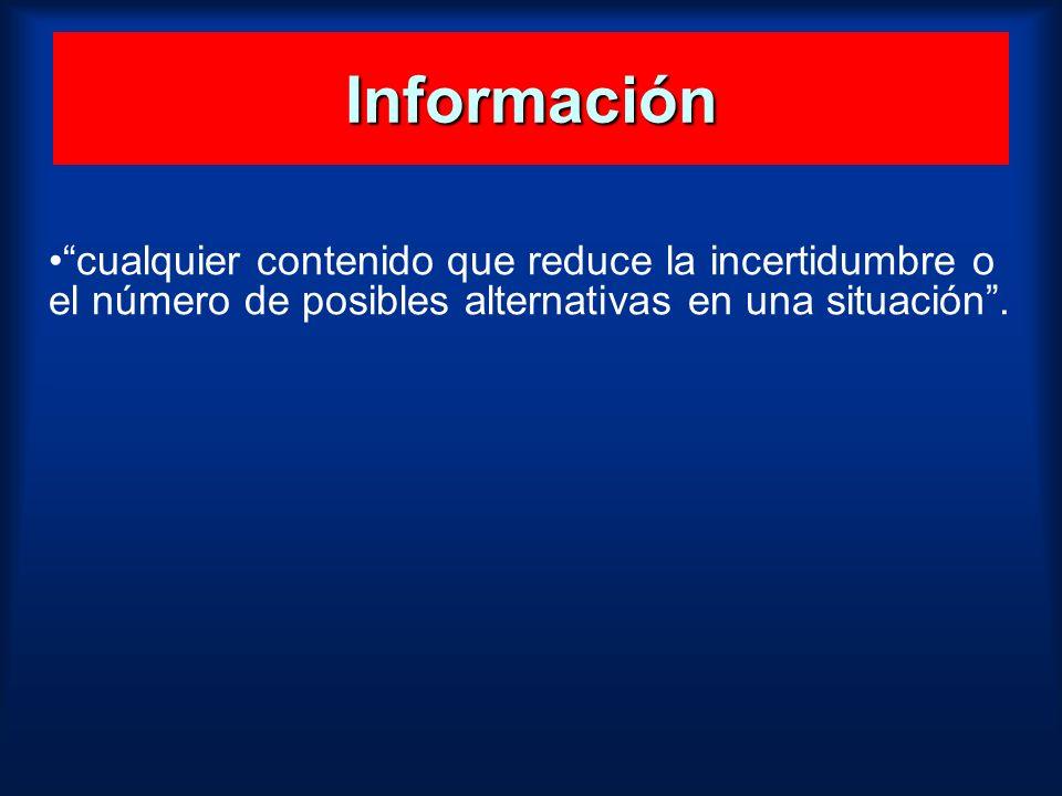 Información cualquier contenido que reduce la incertidumbre o el número de posibles alternativas en una situación.