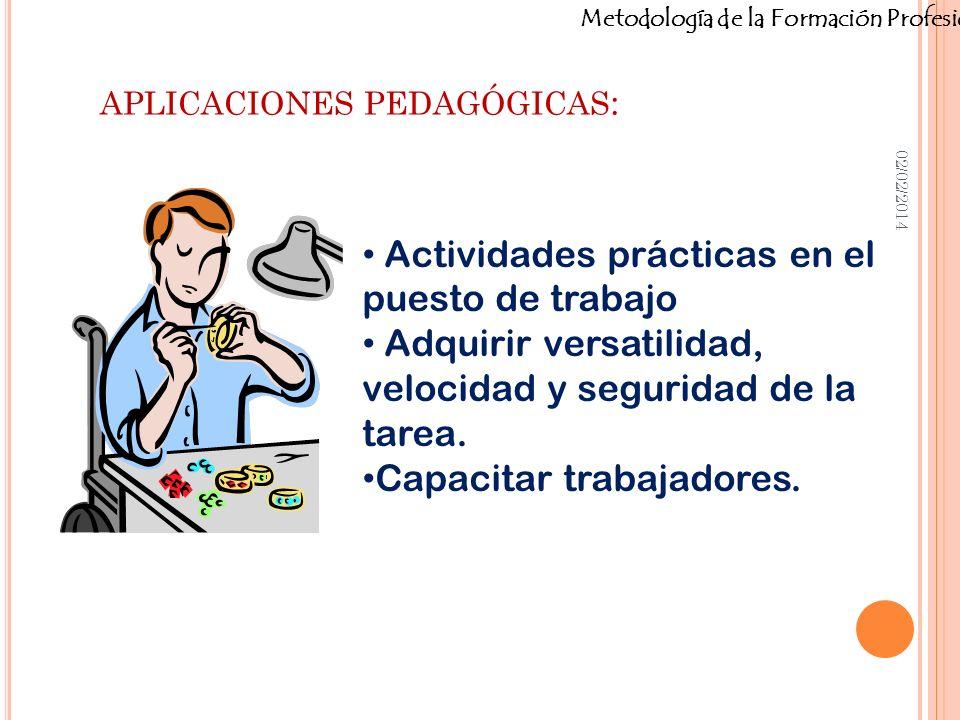Metodología de la Formación Profesional APLICACIONES PEDAGÓGICAS : 02/02/2014 Actividades prácticas en el puesto de trabajo Adquirir versatilidad, vel