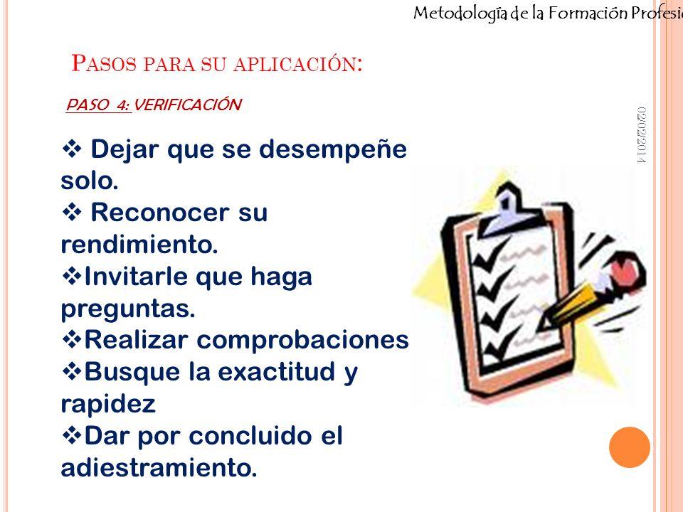Metodología de la Formación Profesional P ASOS PARA SU APLICACIÓN : 02/02/2014 Dejar que se desempeñe solo. Reconocer su rendimiento. Invitarle que ha