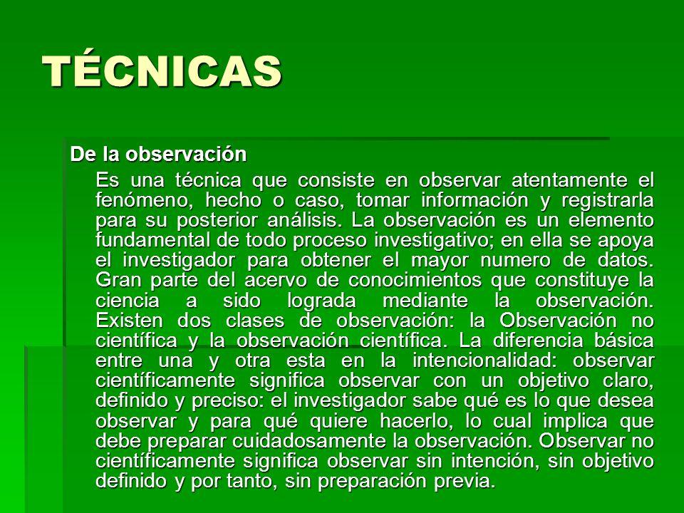 TÉCNICAS De la observación Es una técnica que consiste en observar atentamente el fenómeno, hecho o caso, tomar información y registrarla para su post