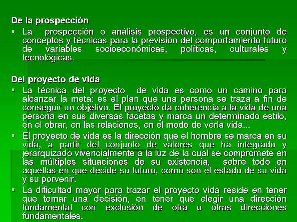 De la prospección La prospección o análisis prospectivo, es un conjunto de conceptos y técnicas para la previsión del comportamiento futuro de variabl