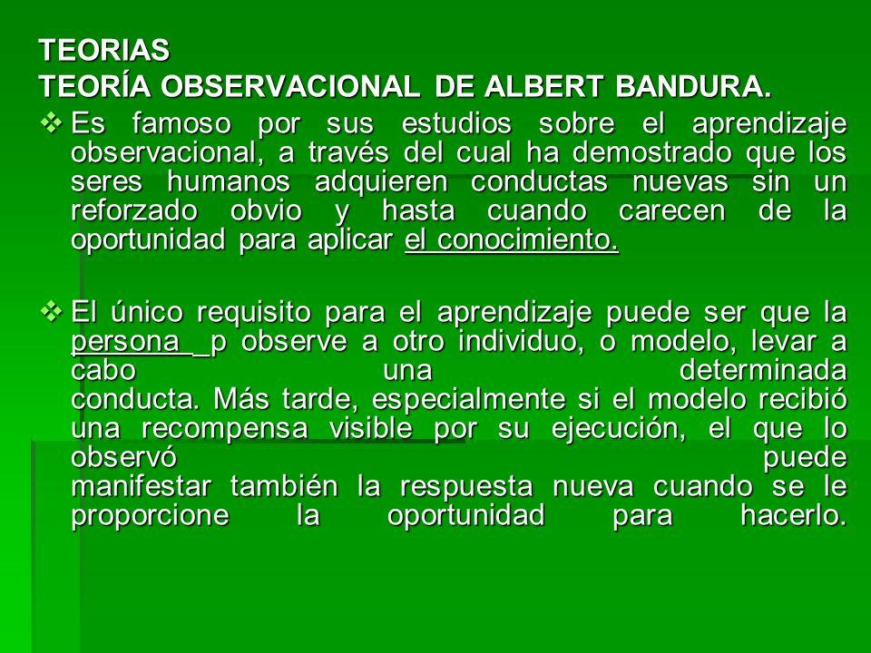 TEORIAS TEORÍA OBSERVACIONAL DE ALBERT BANDURA. Es famoso por sus estudios sobre el aprendizaje observacional, a través del cual ha demostrado que los