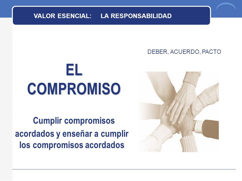 EL COMPROMISO DEBER, ACUERDO, PACTO VALOR ESENCIAL: LA RESPONSABILIDAD Cumplir compromisos acordados y enseñar a cumplir los compromisos acordados
