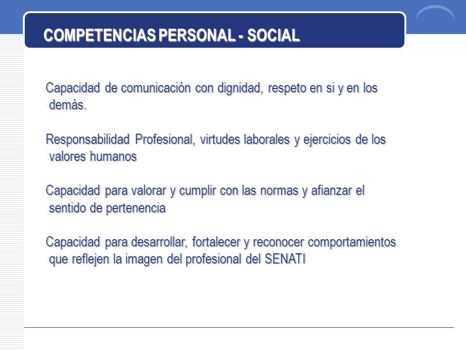 COMPETENCIAS PERSONAL - SOCIAL Capacidad de comunicación con dignidad, respeto en si y en los demás.