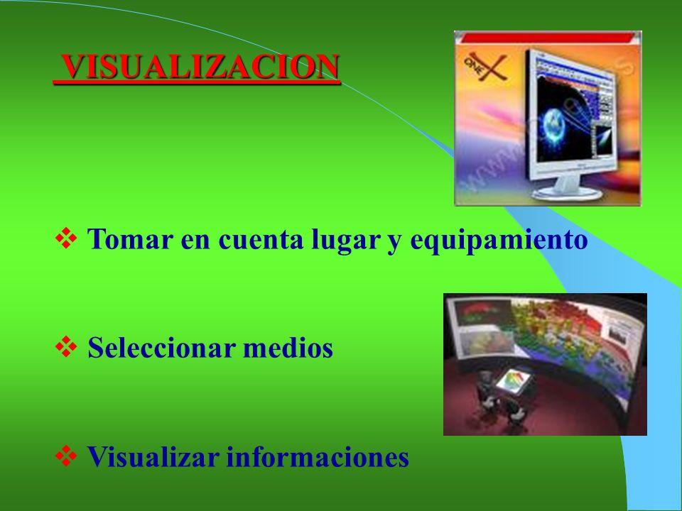 VISUALIZACION VISUALIZACION Tomar en cuenta lugar y equipamiento Seleccionar medios Visualizar informaciones