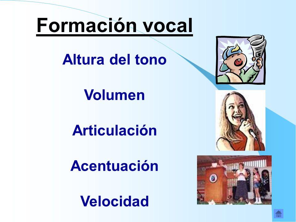 Formación vocal Altura del tono Volumen Articulación Acentuación Velocidad