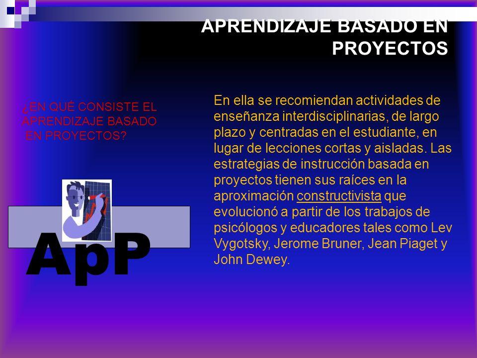 APRENDIZAJE BASADO EN PROYECTOS En ella se recomiendan actividades de enseñanza interdisciplinarias, de largo plazo y centradas en el estudiante, en l