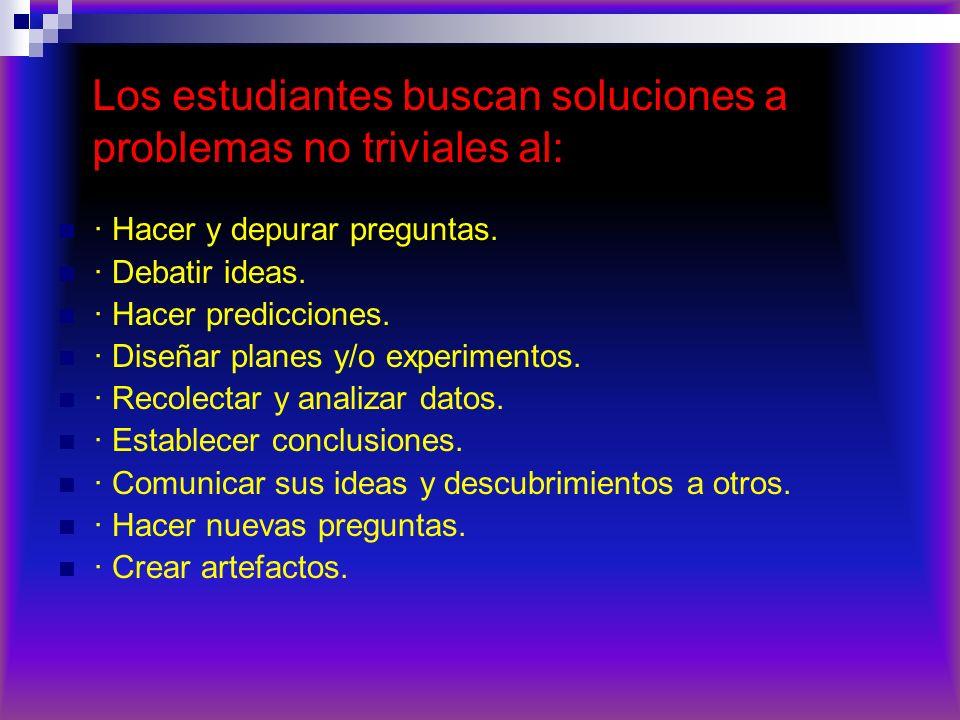 Los estudiantes buscan soluciones a problemas no triviales al: · Hacer y depurar preguntas. · Debatir ideas. · Hacer predicciones. · Diseñar planes y/