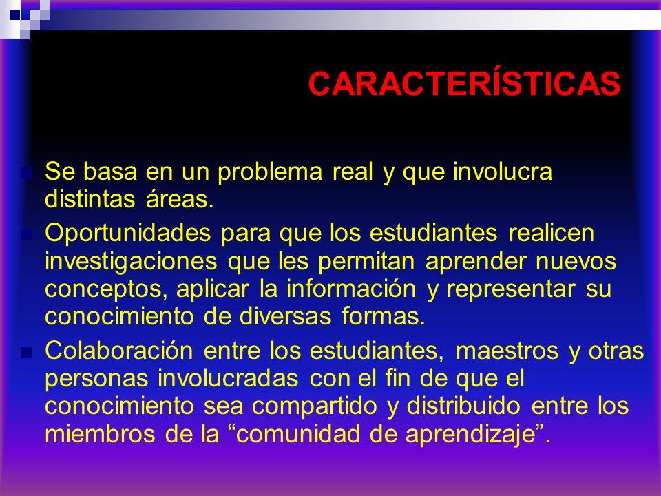 CARACTERÍSTICAS Se basa en un problema real y que involucra distintas áreas. Oportunidades para que los estudiantes realicen investigaciones que les p