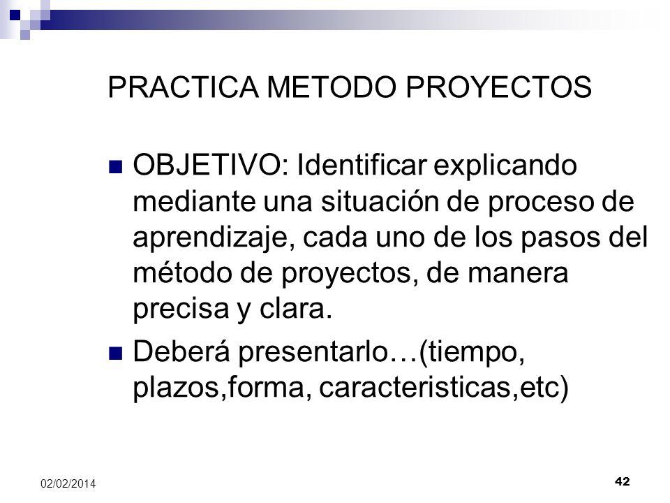 PRACTICA METODO PROYECTOS OBJETIVO: Identificar explicando mediante una situación de proceso de aprendizaje, cada uno de los pasos del método de proye