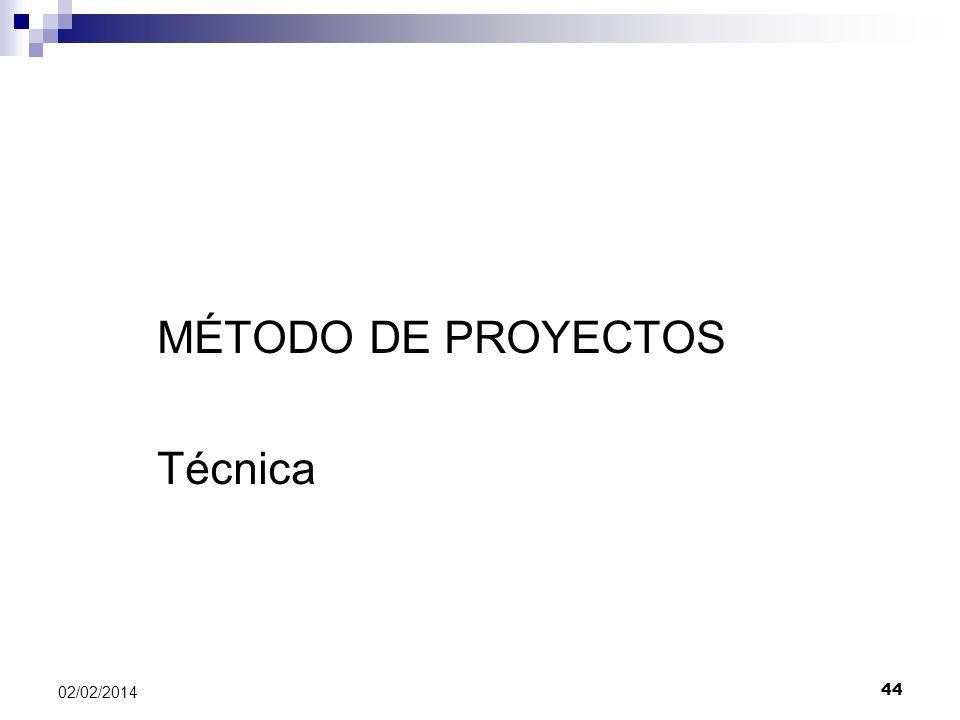 Método de Proyectos MÉTODO DE PROYECTOS Técnica 02/02/2014 44